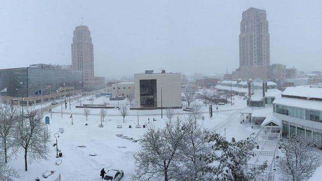 Downtown Battle Creek in a fresh snow blanket.