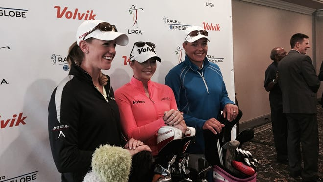 LPGA Tour players from left: Amy Anderson, Victoria Elizabeth and Katherine Kirk.