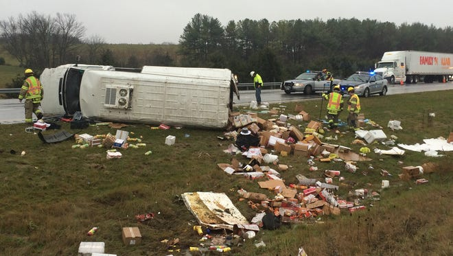 A truck carrying food and candy overturned Tuesday on Interstate 81.