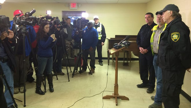 Authorities address the media about the search for Noah Chamberlin on Wednesday, Jan. 20.