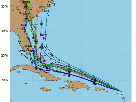 Computer models showing Hurricane Irma's projected path on Wednesday, Sept. 6, 2017.