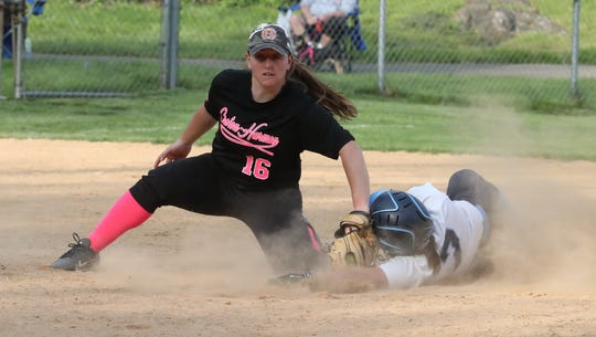 Westlake's Antonia Perino beats the tag of Croton-Harmon's