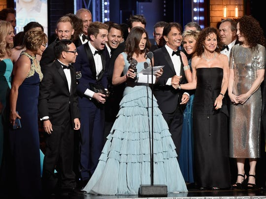"""Producer Stacey Mindich and the cast of """"Dear Evan Hansen"""" accept the award for Best Musical onstage during the 2017 Tony Awards at Radio City Music Hall on June 11, 2017 in New York City.  (Photo by Theo Wargo/Getty Images for Tony Awards Productions)"""