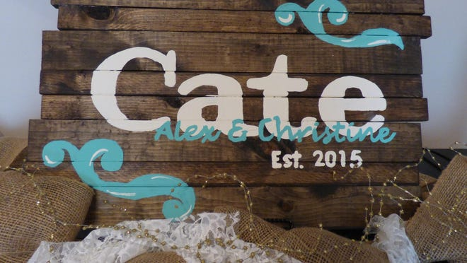 Create a rustic wooden sign for a newlywed couple for approximately $15.