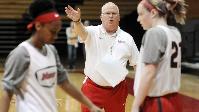 Marist College's women's basketball head coach Brian Giorgis conducts practice at the McCann Arena in the Town of Poughkeepsie.
