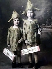"Bonnie Leslie Fontenot (left)  and Norma Leigh Fontenot,  the second-place winners of the costume contest held in 1918. Their ""Spearmint Imps"" costumes were created by their mother, Bonnie Williams Fontenot,"