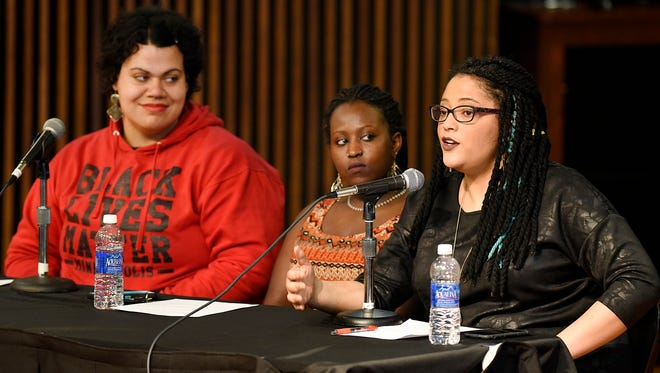 Lena Gardner, left, Luna Gebriel and Kandace Montgomery were panelists during a Women on Wednesday session Wednesday, Feb. 24, in the Atwood Theatre at St. Cloud State University.