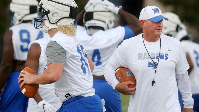 MTSU's new Defensive Coordinator/Safeties Coach Scott Shafer works with players during practice, on Tuesday Aug. 1, 2017.