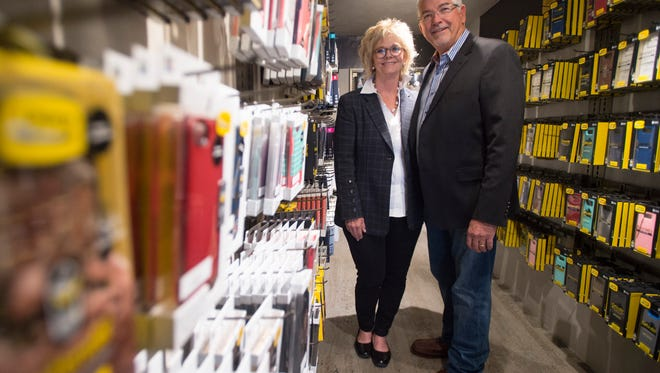 Otter Products founders Curt and Nancy Richardson pose for a photo in the Otter Shop in Old Town on Tuesday, May 1, 2018.