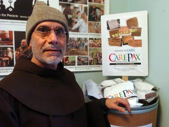 Brother Al with the Song and Spirit Institute in Berkley recommends handing out CarePax packages to panhandlers instead of cash.