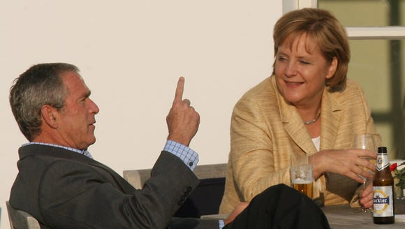 President George W. Bush and German Chancellor Angela