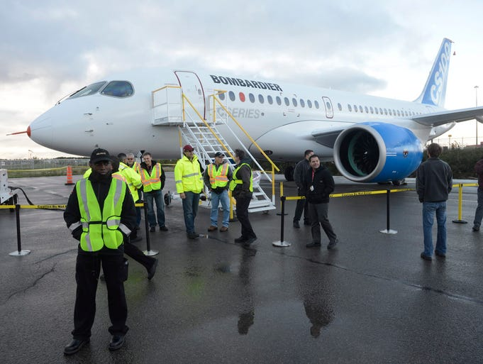 Bombardier's new CSeries jetliner sits on the tarmac at the company's headquarters in Mirabel, Quebec, on Sept. 16, 2013.