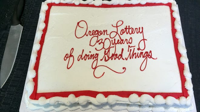 One of the four cakes at the 30th anniversary celebration of the Oregon Lottery.