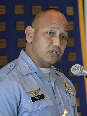 In this file photo, Police Chief Joseph Cruz speaks to the Rotary Club of Tumon Bay.