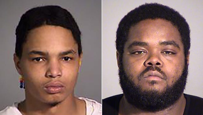 (Left to right) Corey Taylor and Edriese Phillips were arrested on drug-dealing and possession charges by Indianapolis police during a traffic stop on the east side on Feb. 8, 2016.