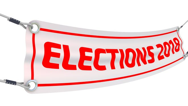 """Advertising banner with inscriptions """"ELECTIONS 2018"""". Isolated. 3D Illustration"""