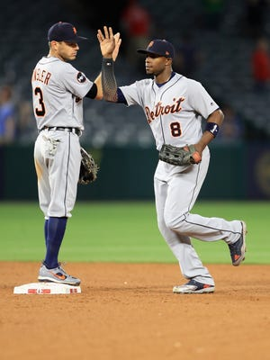 Ian Kinsler, left, congratulates Justin Upton after the Tigers defeated the Angels, 7-1, at Angel Stadium of Anaheim on May 11, 2017 in Anaheim, Calif.