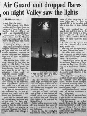 Air Guard unit dropped flares on night Valley saw the Phoenix Lights.