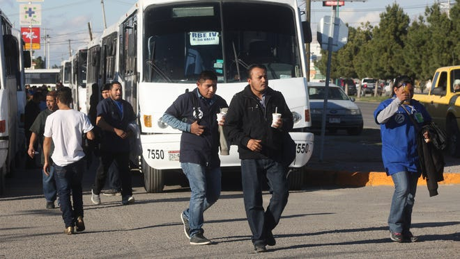 Workers from a twin plant in Juárez leave work at the end of their shift. The manufacturing industry in Juárez is comprised of assembly plants that produce and export goods — and enjoy tax breaks.