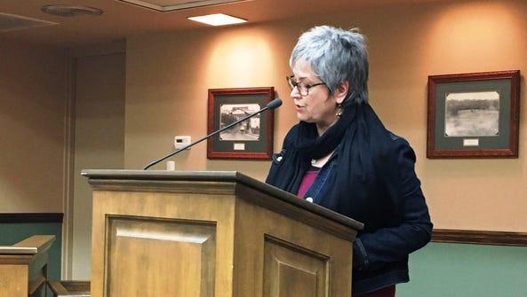 Ellen Merschon addresses Loveland City Council. Merschon