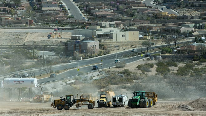 Heavy-weight trucks continue to smooth out dirt on Monday at the likely site for a new Good Samaritan Society care facility near the intersection of Roadrunner Parkway and Northrise Drive.