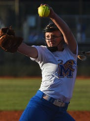 Martin County's Emily MacMullen pitches Wednesday,