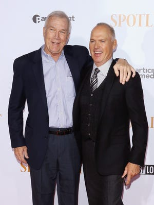 """Walter Robinson, pictured here with Michael Keaton at the """"Spotlight"""" premiere in New York. Robinson will be at The Lyric in Fort Collins for a showing of the film and a panel on journalism."""
