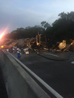 A major crash shut down southbound traffic on I-95 in Fellsmere Wednesday morning.
