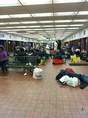 The scene inside the Greyhound bus station in downtown Cincinnati.