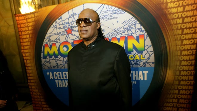 "Motown legend Stevie Wonder arrives at the red carpet premiere for ""Motown: The Musical,""at the Fisher Theatre on Wednesday, Oct. 22, 2014 in Detroit."