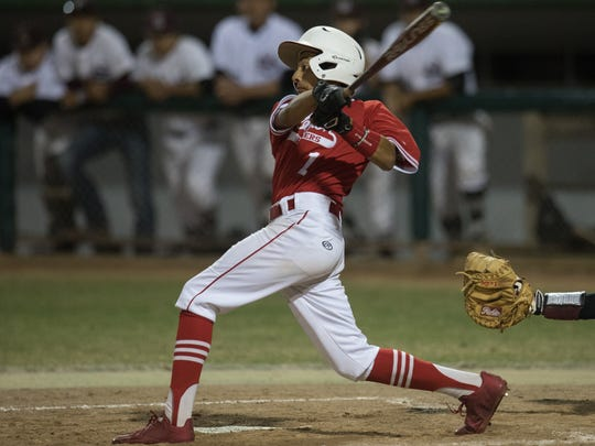 Robstown's Victor Moreno hits during the fourth inning of their game against Sinton in Sinton on Monday, April 10, 2017.