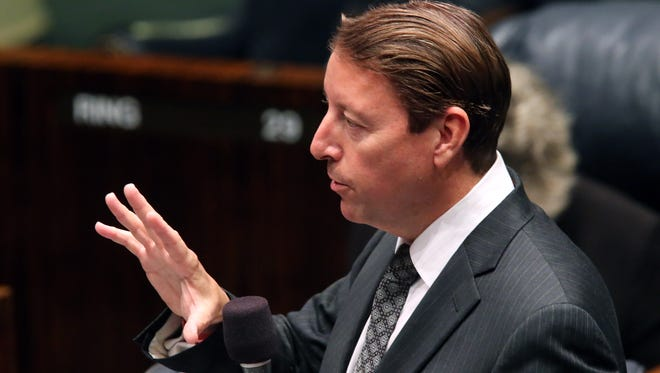 Sen. Bill Galvano, R-Bradenton, answers questions about how redistricting will be handled during the special session, Monday, Aug. 10, 2015, in Tallahassee.