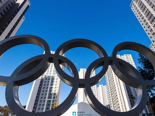 This general view shows the Olympic rings at the Olympic
