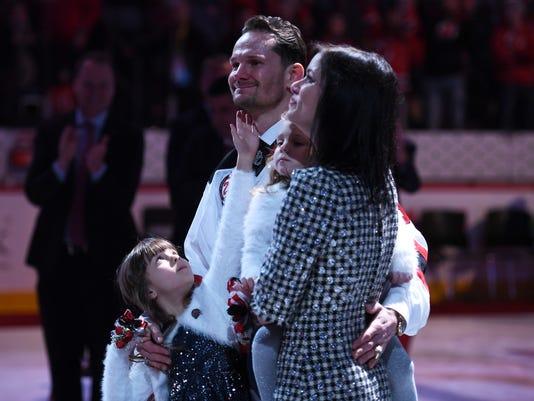 Patrik Elias jersey retirement ceremony