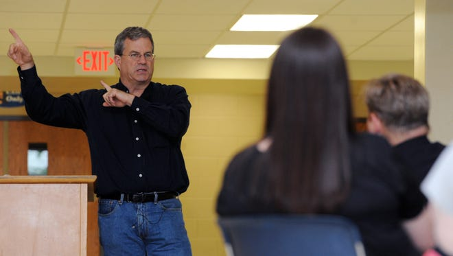 Sam Quinones talks to educators about his book and the drug problem in Chillicothe Thursday at Chillicothe Schools.