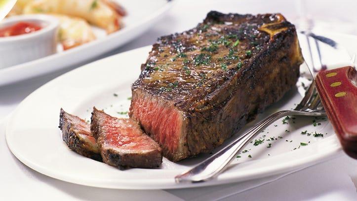 Sliced steak at Fleming's Prime Steakhouse & Wine Bar