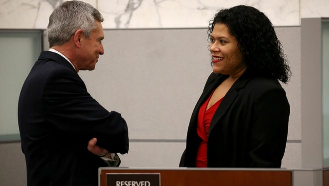 Leticia Astacio speaks with her attorney, Edward Fiandach, before her hearing where Judge Stephen Aronson ruled Monday that she did not violate her post-release conditions imposed after her drunken driving conviction last year.