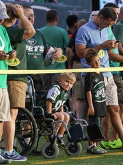 Neal Spickert-Fulton, a 5-year-old Morris Plains cancer patient visits N.Y. Jets/Falcon game at MetLife Stadium as SNY's Dream Day winner on August 21, 2015.