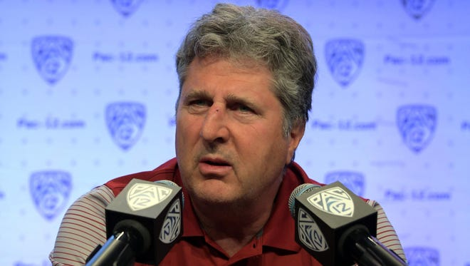 Mike Leach during Pac-12 media day in Los Angeles.