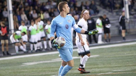Mount Union goalkeeper Zach Hlas recorded a school-record 23 shutouts during his career.