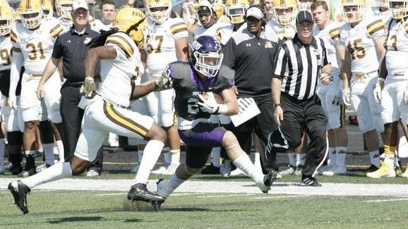 Current Mount Union players Josh Petrucelli and Kordell Ford appeared in the 2017 football game between the Purple Raiders and Baldwin Wallace.