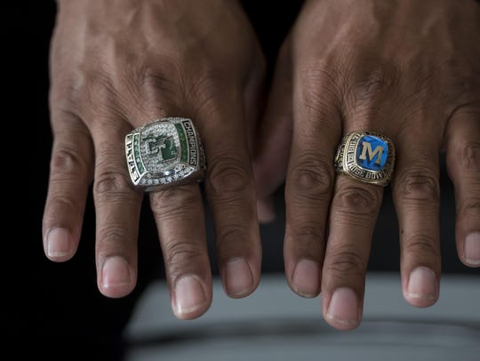 Wilcher displays the bling from his 2016 state championship