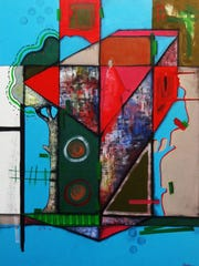"""""""The Resident,"""" a 30-inch x 40-inch mixed media on canvas ($2,800) by David Acevedo"""