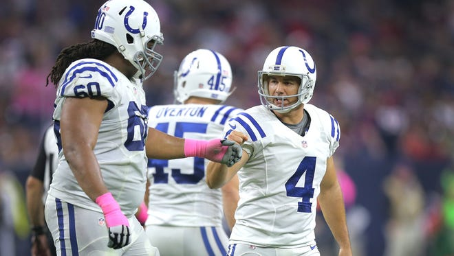 Colts K Adam Vinatieri is still perfect this season.