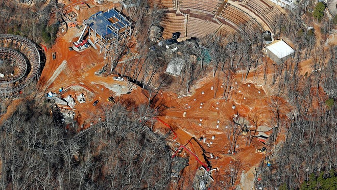 Aerial view of an area under construction at the Silver Dollar City theme park in Branson, Mo. as seen on Feb. 15, 2017.