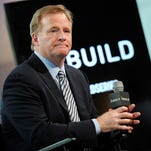NFL Commissioner Roger Goodell participates in AOL's BUILD Speaker Series at AOL Studios on Tuesday, May 5, 2015, in New York. (Photo by Evan Agostini/Invision/AP)