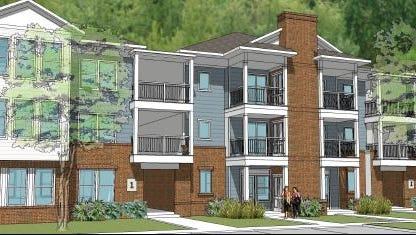 A rendering of the Willows at Westampton, an affordable residential complex planned along Woodlane Road. Six three-story residential buildings housing 72 apartments are planned.