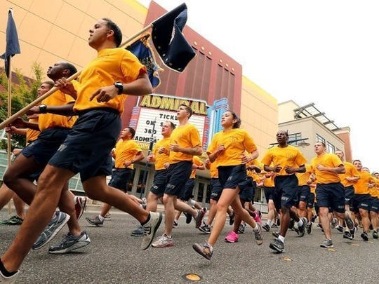 Sailors participate in the fun run that takes place every year as part of Bremerton's Blackberry Festival over Labor Day weekend.
