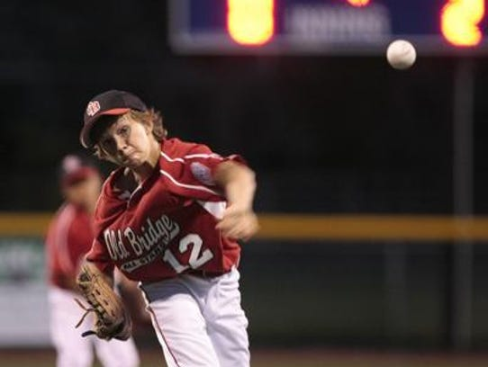 Old Bridge pitcher Tyler Hopman throws against Woodbridge