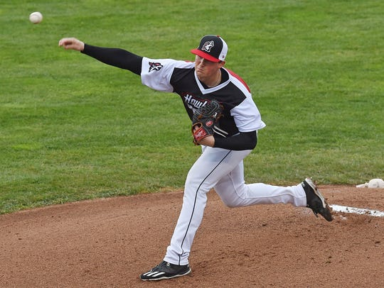 Erie SeaWolves pitcher Kyle Funkhouser delivers a pitch